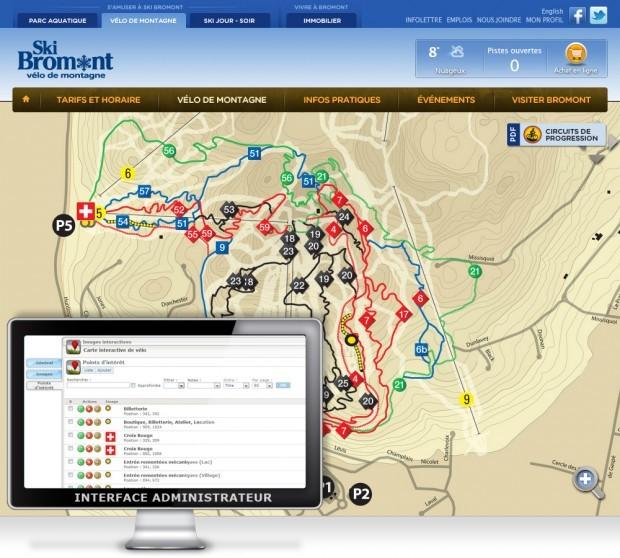 La carte interactive des pistes de vélo de Ski Bromont