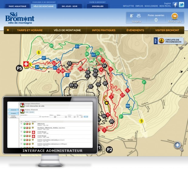 La carte interactive des pistes de v�lo de Ski Bromont