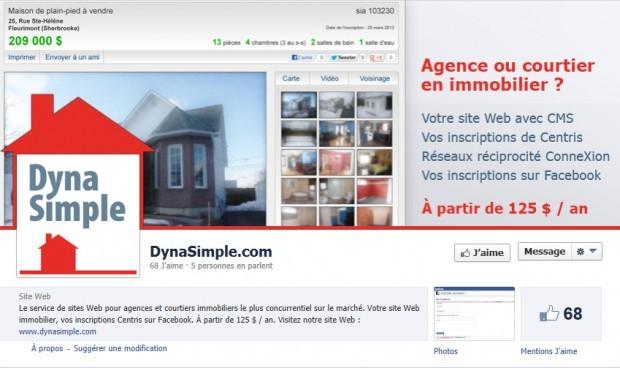 Une page Facebook personnalisée pour DynaSimple.com