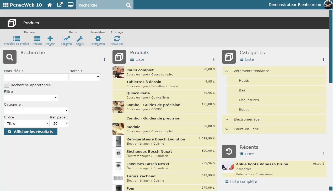 Gestion du catalogue de produits pour la vente en ligne