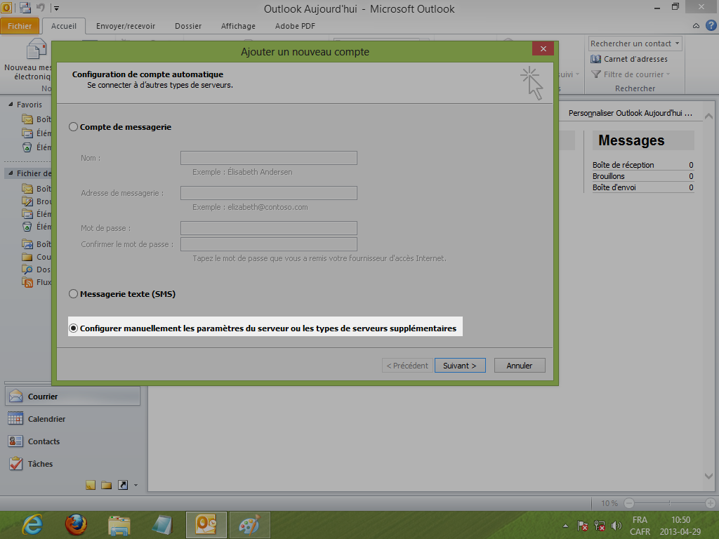 configuration serveur manuelle - outlook 2010 - outlook 2013